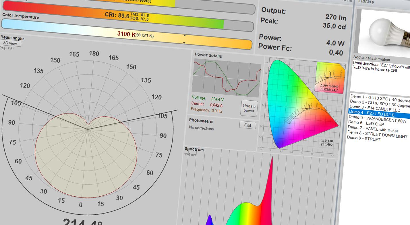 Light measurement software Light Inspector